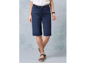 Walbusch Damen Bermuda-Hose Regular Fit Blau einfarbig atmungsaktiv elastisch mit flexiblem Bund temperaturausgleichend ultraleicht