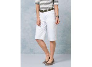 Walbusch Damen Bermuda Hose Regular Fit Weiß einfarbig atmungsaktiv elastisch mit flexiblem Bund temperaturausgleichend ultraleicht