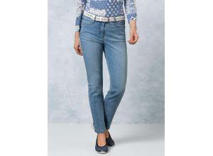 Walbusch Damen Jeans-Hose Coolmax Regular Fit Blau einfarbig elastisch mit flexiblem Bund