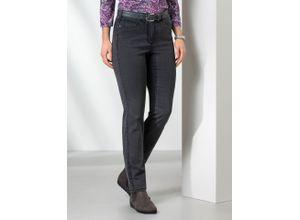 Walbusch Damen Jeans Hose Feminine Fit Grau einfarbig elastisch mit flexiblem Bund