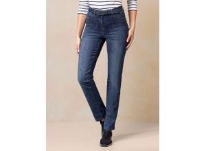 Walbusch Damen Jeans-Hose Regular Fit Blau einfarbig atmungsaktiv elastisch mit flexiblem Bund
