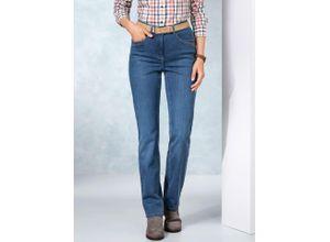 Walbusch Damen Jeans Hose Regular Fit Blau einfarbig elastisch mit flexiblem Bund wärmend