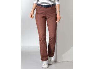 Walbusch Damen Jeans Hose Regular Fit Braun einfarbig elastisch mit flexiblem Bund
