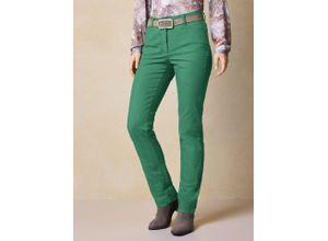 Walbusch Damen Jeans Hose Regular Fit Grün einfarbig elastisch mit flexiblem Bund