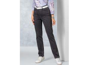 Walbusch Damen Jeans Hose Regular Fit Grau einfarbig atmungsaktiv elastisch mit flexiblem Bund