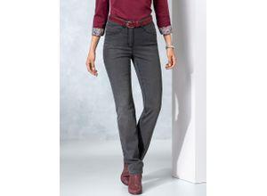 Walbusch Damen Jeans Hose Regular Fit Grau einfarbig elastisch mit flexiblem Bund wärmend