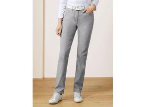 Walbusch Damen Jeans Hose Regular Fit Grau einfarbig elastisch mit flexiblem Bund