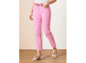 Walbusch Damen Jeans Hose Regular Fit Rosé einfarbig elastisch mit flexiblem Bund