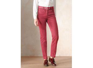Walbusch Damen Jeans-Hose Regular Fit Rot einfarbig elastisch mit flexiblem Bund