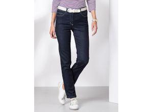 Walbusch Damen Jeans-Hose Slim Fit Blau einfarbig elastisch mit flexiblem Bund temperaturausgleichend