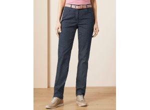 Walbusch Damen Jeans Hose Slim Fit Blau gemustert elastisch
