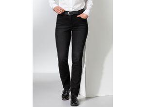 Walbusch Damen Jeans Hose Slim Fit Schwarz einfarbig atmungsaktiv elastisch mit flexiblem Bund