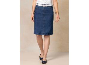 Walbusch Damen Jeans-Rock Blau einfarbig elastisch