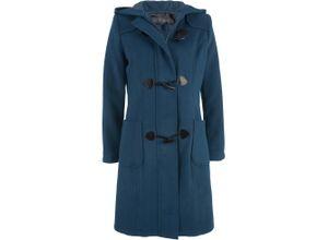 Dufflecoat-Wollmantel langarm in blau für Damen von bonprix