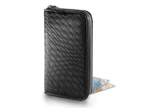 Fontanelli Lammnappa-Geldbörse, Geldbörsen, Portemonnaie, Echtleder, Reißverschluss, geflochten, schwarz