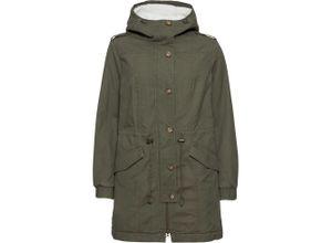 Mantel mit Teddyfell langarm in grün für Damen von bonprix