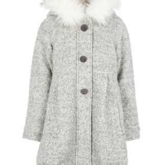 NAME IT Wollmischfaser Mantel Damen Grau