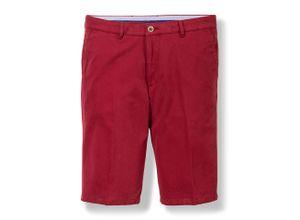 Walbusch Herren Bermuda Hose Regular Fit Rot einfarbig Easycare mit flexiblem Bund