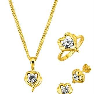 4tlg. Schmuck-Set mit Zirkonia Golden Style Gelb