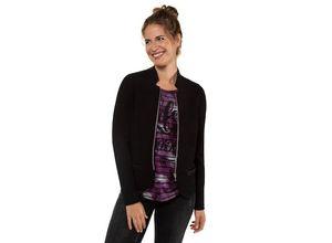 Gina Laura Damen Blazer, Strukturjacquard, kurze Form, Lederoptikdetails, schwarz, Baumwolle/Elasthan