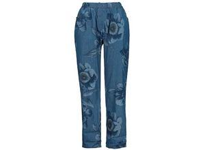 Gina Laura Damen Hose, geblümt, elastischer Bund, 4-Pocket-Schnitt, blau, Baumwolle