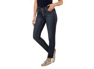 Gina Laura Damen Jeans Julia, Crashlook, schmales Bein, Galonstreifen, blau, Baumwolle/Polyester/Elasthan