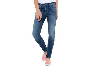 Gina Laura Damen Jeans Julia, Glitzersteine, Saumfalten, schmal, blau, Baumwolle/Elasthan