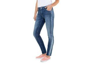Gina Laura Damen Jeans Julia, Wascheffekt, Saum-Schriftzug, schmale Form, blue denim, Baumwolle/Elasthan