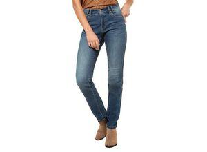 Gina Laura Damen Jeans Julia, seitliche Samtbänder, schmale 5-Pocket, blau, Baumwolle/Polyester/Elasthan