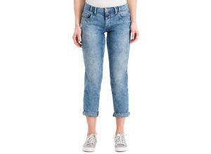 Gina Laura Damen Jeans Tina, gerader Schnitt, Vintage-Tupfen, blau, Baumwolle/Polyester/Lyocell