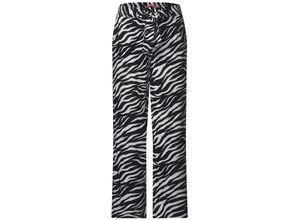 Street One Wide Leg Hose mit Zebraprint Black, Gr. 34/30 - Damen Hose