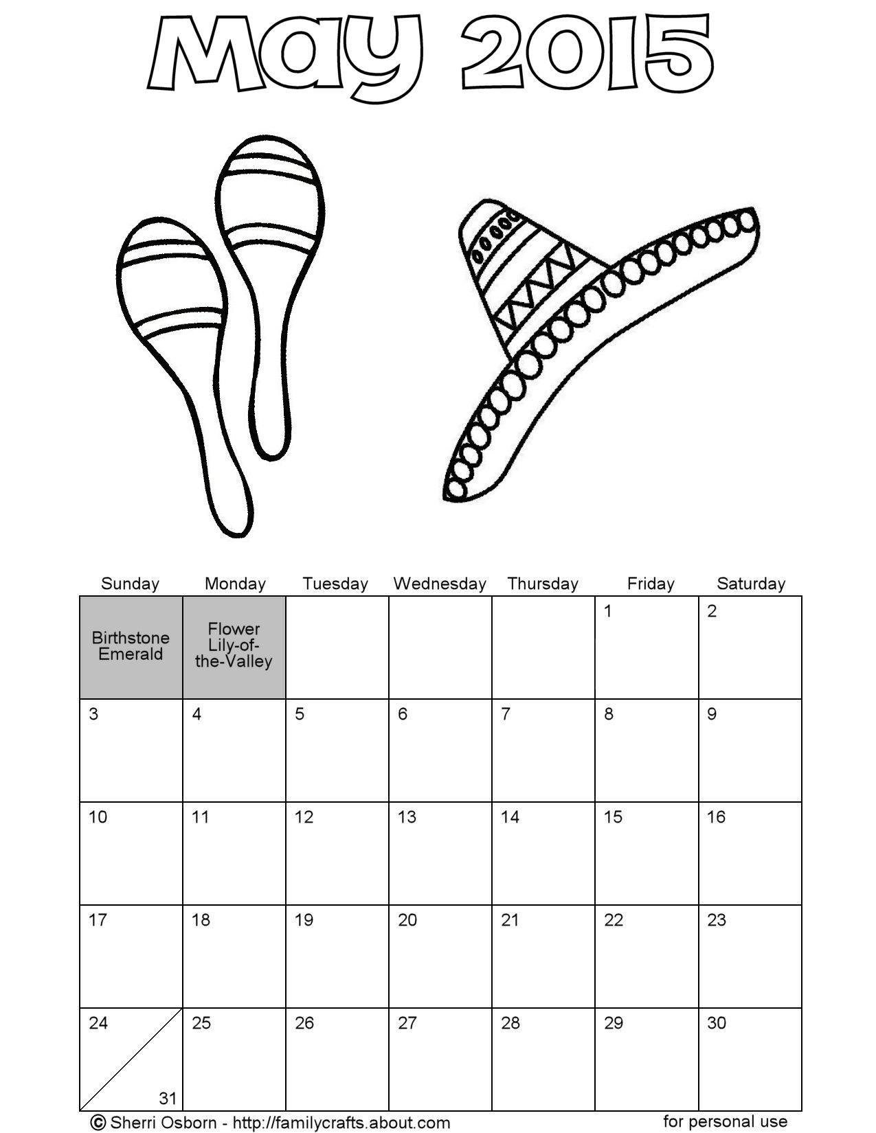 Printable May Calendars