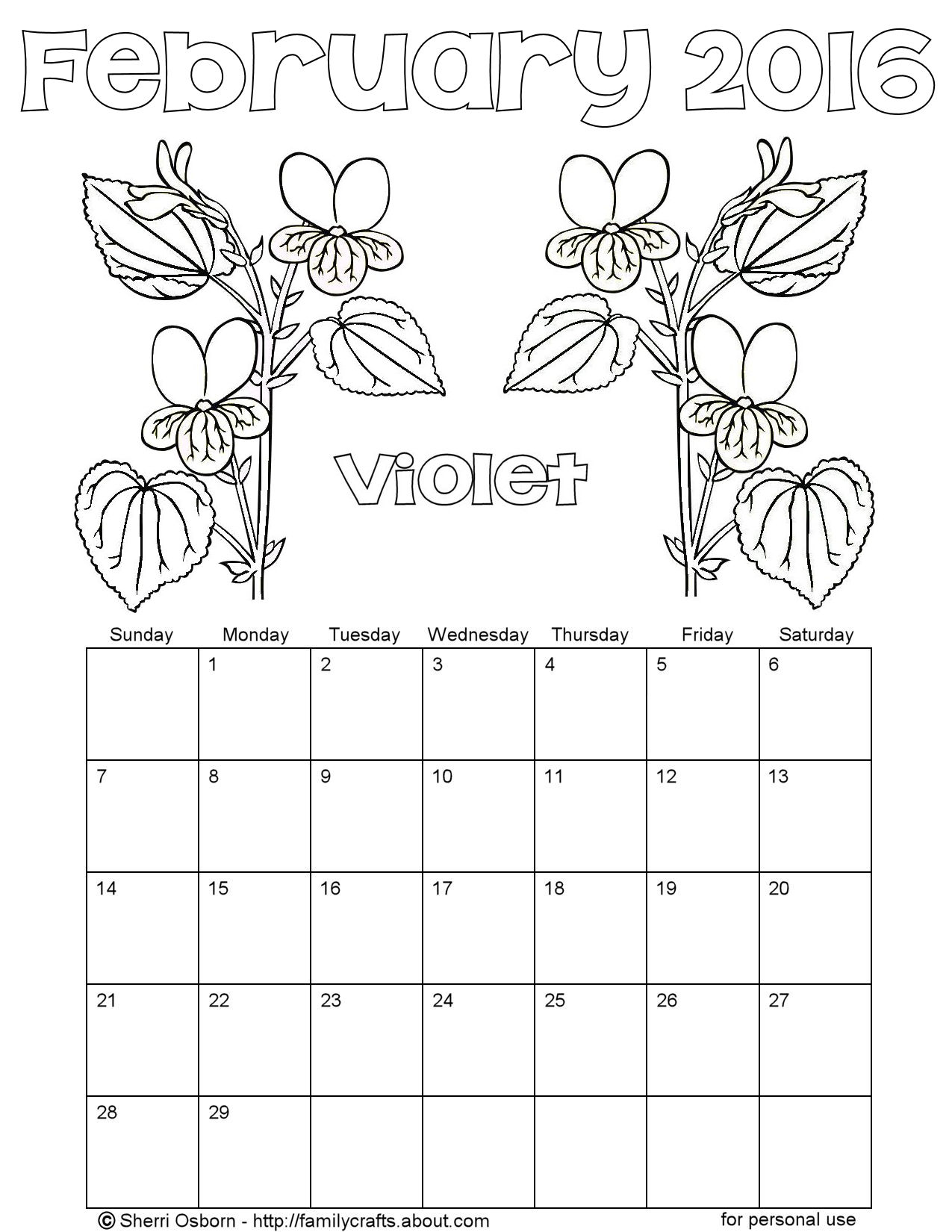 Printable February Calendars