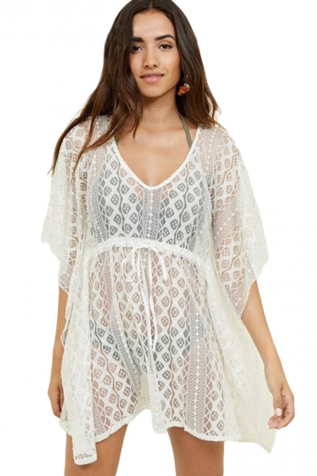 Strandjurk Cover Up V-hals Crochet Wit - Voorkant