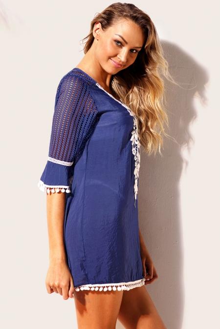 Strandjurk Cover Up Milano Crochet Blauw zijkant
