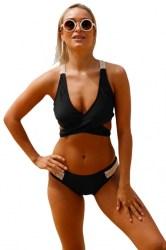 Bikini Zwart Manada met Crochet Witte details main