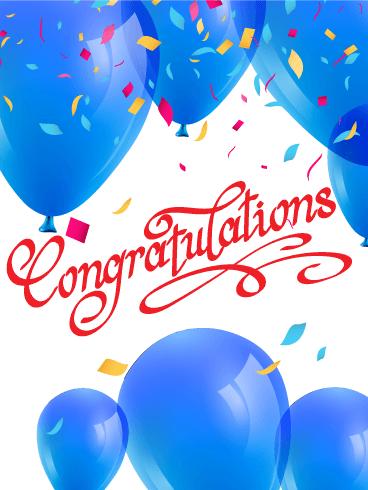 blue balloons congratulations card