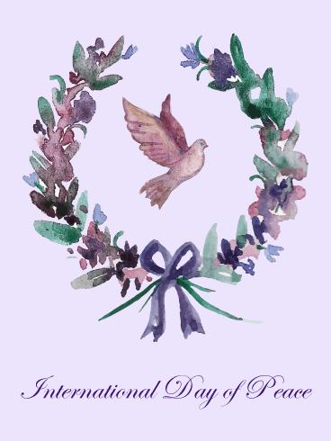 Flower Wreath International Day Of Peace Card Birthday