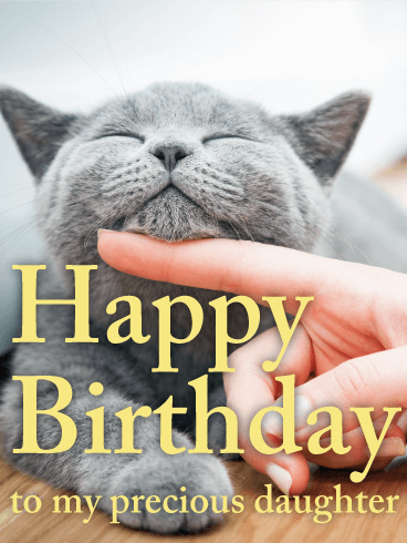 Playful Cat Happy Birthday Card For Daughter Birthday