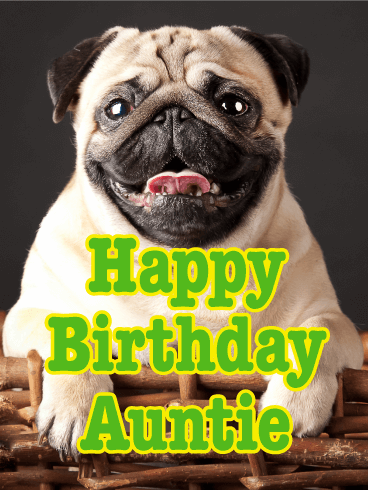 Cheerful Pug Happy Birthday Card For Aunt Birthday