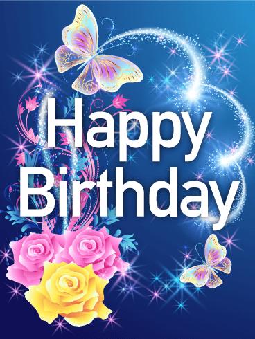 Shining Rose & Butterfly Happy Birthday Card Birthday
