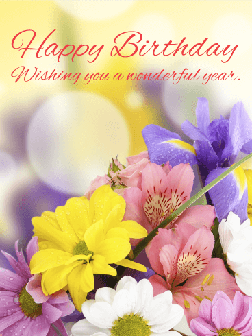 Lovely & Gorgeous Flower Happy Birthday Card Birthday