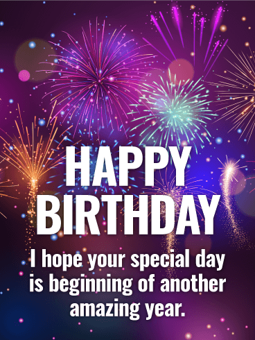 Purple Fireworks Happy Birthday Card Birthday & Greeting