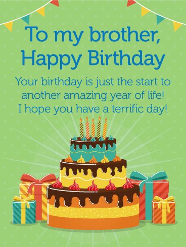 Have A Terrific Day! Happy Birthday Card For Brother