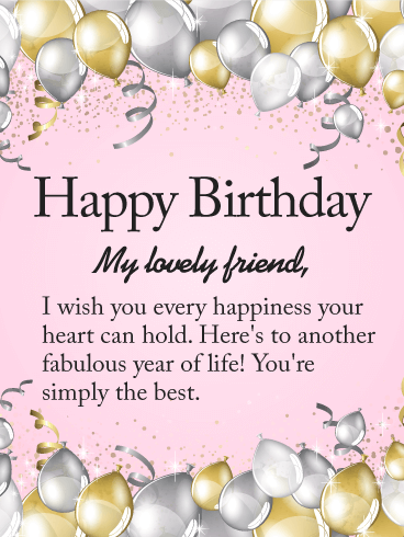 To My Lovely Friend Happy Birthday Wishes Card