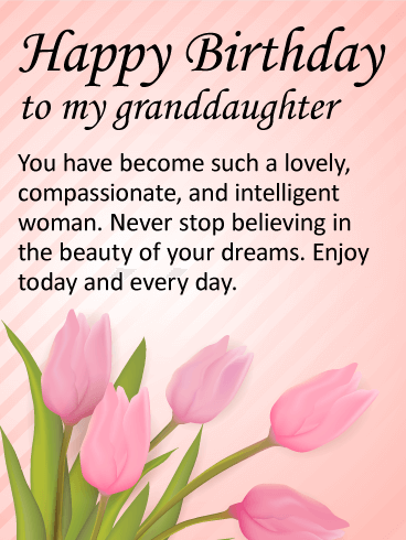 To My Lovely Granddaughter Happy Birthday Wishes Card