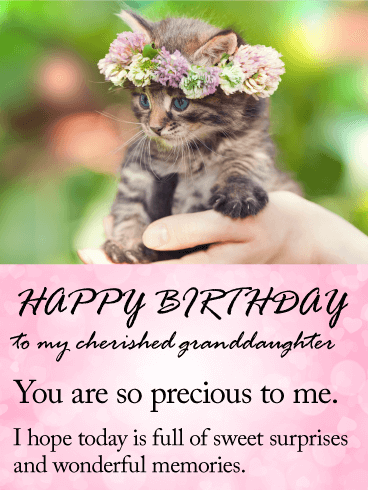 To My Cherished Granddaughter Happy Birthday Wishes Card