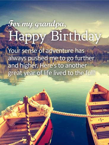 To My Adventurous Grandpa Happy Birthday Wishes Card