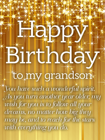 Golden Happy Birthday Wishes Card For Grandson Birthday