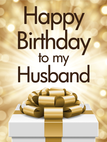 Golden Happy Birthday Card For Husband Birthday